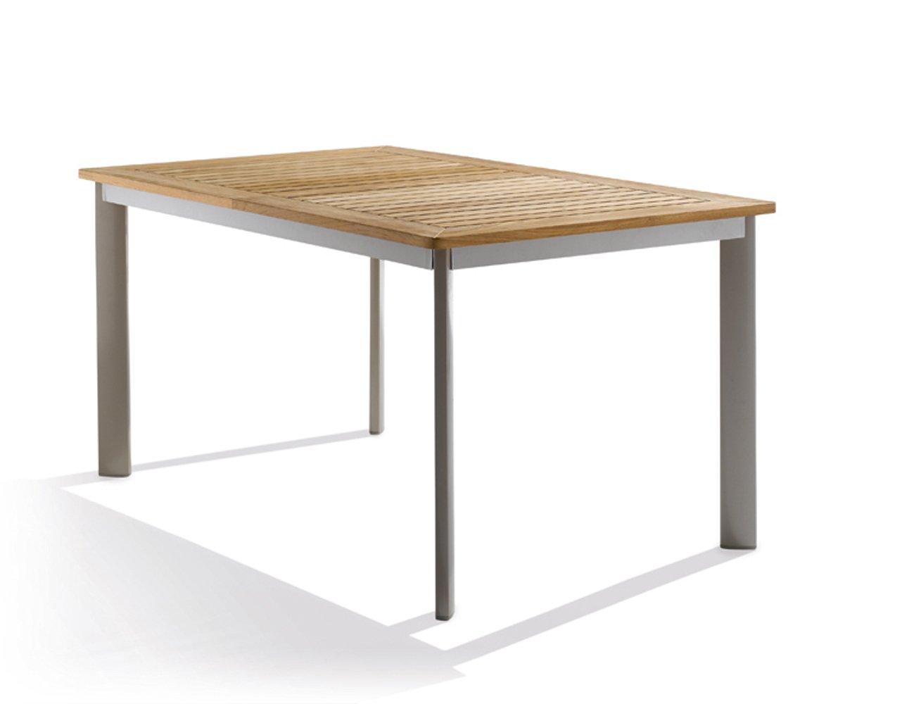 Sieger 687/C Gartentisch mit Aluminium-Gestell und Platte aus Plantagen-Teakholz, champagner