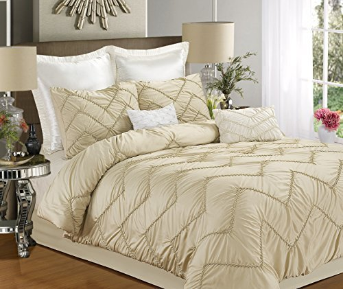 Bella 4-Piece Duvet Cover Set, Queen Size, Champagne, Shams And Decorative Pillow Included