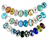 Pandora Style Thirty (30) Piece Charm Bead Set with Murano Style, Lampwork Style and Faceted Glass Style Beads - Fits Pandora, Troll, Biagi and Charmilia - Exact Assortment as Shown (FB100)