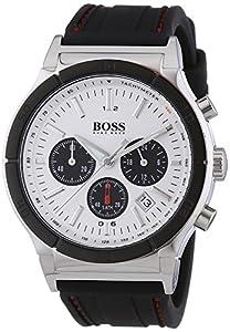 Hugo Boss - 1512499 - Montre Homme - Quartz Analogique - Cadran Argent - Chronographe - Bracelet Silicone Noir