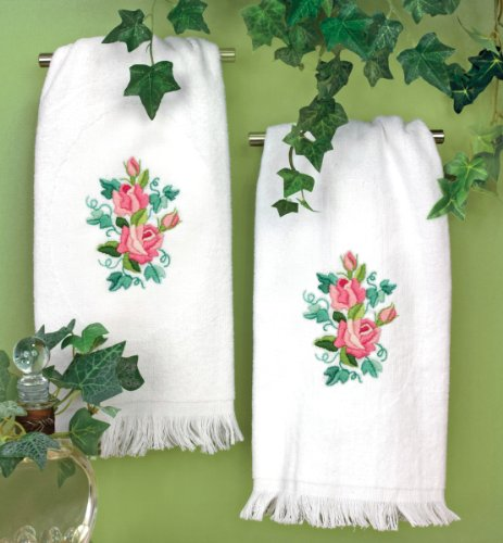 Dimensions Needlecrafts Roses And Ivy Guest Towels front-632590