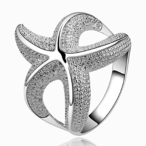 Fashion 925 Sterling Silver Jewelry Chic Curvy Starfish lovely party ring size 8