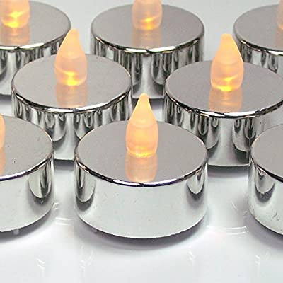 Silver Candles - Set of 24 Flameless Tealights - Metallic Silver Candles with Flickering Flame - Silver Decorations - Silver Wedding Decorations - Graduation Parties - No Flame Candles