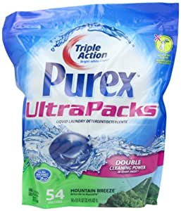 Purex Ultra Packs Liquid Laundry Detergent, Mountain Breeze, .55 fl Oz, 54 Count