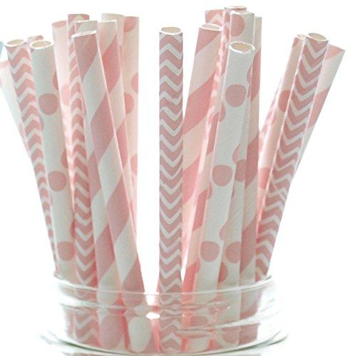 Baby Girl Pink Baby Shower Straws (25 Pack) - Baby Shower Supplies, Princess Girls Birthday Party Straws, Stripe Chevron & Polka Dot Light Pink Paper Straws (Baby Shower Tea compare prices)