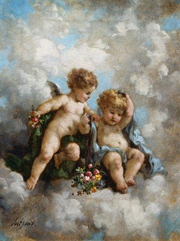 Cherubs In The Clouds By Charles Augustus Henry Lutyens Wall Mural - 42 Inches H X 31 Inches W - Peel And Stick Removable Graphic front-643631
