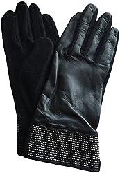 Lauren Ralph Lauren Touch Screen Studded Cuff Leather Gloves Black XL