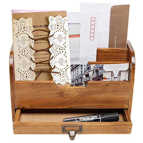 3 Tier Country Rustic Vintage Wood Office Desk File Organizer Mail Sorter Tray Holder w/ Storage Drawer