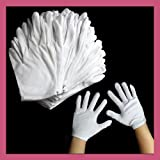 BargainUniverse® 12 Pairs 100% Cotton White Gloves - health/music/canvas/work - Moisturising Lining Gloves - Medium : 21*10cm