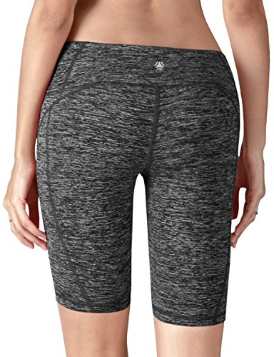 Yoga Reflex - Yoga Shorts for Women - Workout Fitness Yoga Short - Hidden Pocket (From XS to 2XL) , Charcoal , Medium