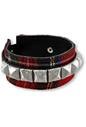 Red Tartan Plaid and Black Leather Wristband with Pyramid Studs