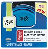 Ball Color 6-Pack Lids and Bands, Blue