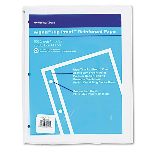 National Brand Products - National Brand - Heavyweight 20-lb. Reinforced Bond Filler Paper, Unruled, 11 x 8-1/2, 100 Sheets - Sold As 1 Pack - Heavyweight bond for added strength. - Pre-punched holes for use in standard ring binders eliminates paper punching. - Ultra thin Rip-ProofTM film on binding edge prevents sheets from pulling out at ring binder holes--perfect for active records. - Jam-free printing in offset presses and plain paper copiers. -