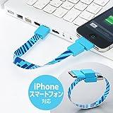 サンワダイレクト リングUSBケーブル iPhone スマートフォン 対応 MicroUSB Dock ライトブルー 500-USB023LB