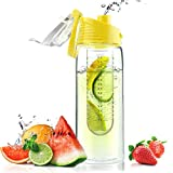 Asobu Flavor It Infuser Water Bottle Pure Fruit Flavour 2 Go, Yellow