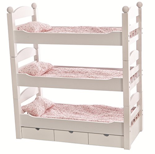 18 inch doll white triple detachable trundle bunk bed furniture made to fit american girl or. Black Bedroom Furniture Sets. Home Design Ideas