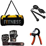 VINTO FITNESS COMBO 1 PC GYM BAG, 1 PAIR GYM GLOVES, 1 PC HAND GRIP 10KG-40 KG,1 PC SKIPPING ROPE