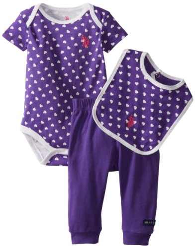 U.S. Polo Assn. Baby-Girls Newborn All Over Printed Bodysuit Bib With Solid Pant, Royal Purple, 3-6 Months