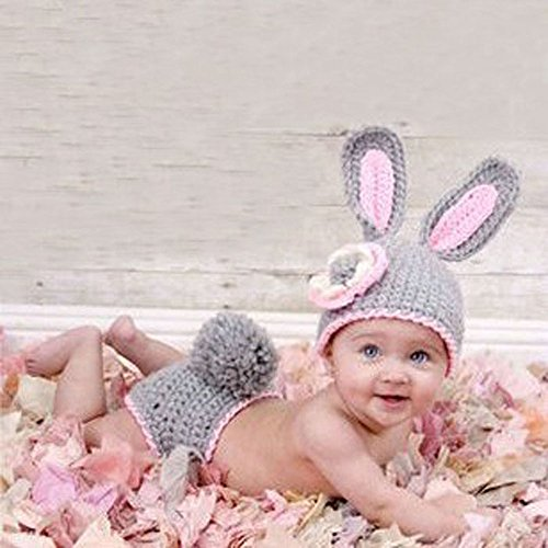 Lowpricenicetm mini cute rabbit knit crochet clothes photo prop outfits for newborn baby