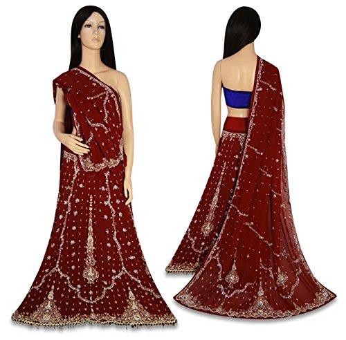 weinlese indische hochzeit lehenga set hand perlen stoff schweres hochzeitskleid maroon. Black Bedroom Furniture Sets. Home Design Ideas