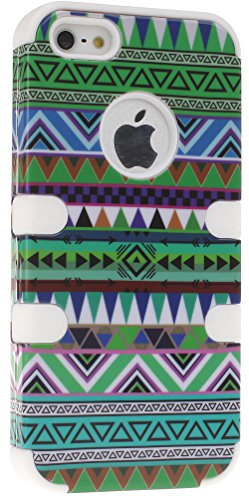 Mylife White - Colorful Tribal Print Series (Neo Hypergrip Flex Gel) 3 Piece Case For Iphone 5/5S (5G) 5Th Generation Smartphone By Apple (External 2 Piece Fitted On Hard Rubberized Plates + Internal Soft Silicone Easy Grip Bumper Gel)