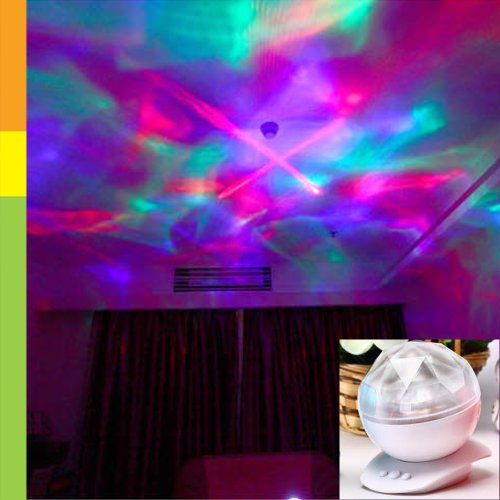 Locomolife Diamond Color Changing Led Laser Show Aurora Projection Mood Lamp Night Light Speaker Led096Wht White back-401723