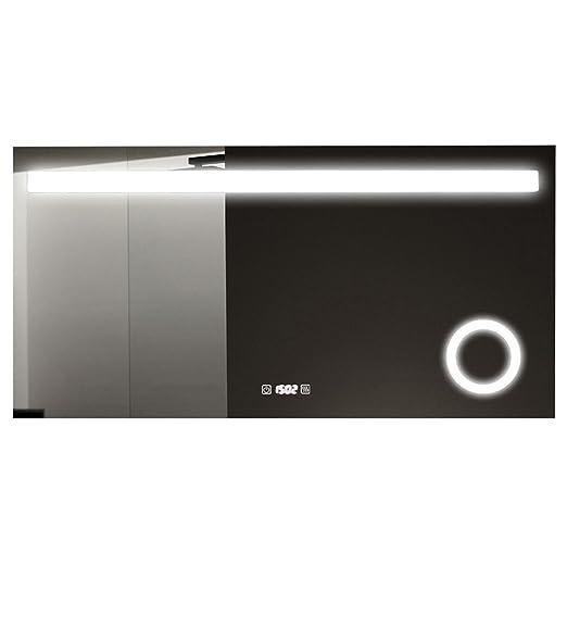 Specchio bagno LED Anti Appannamento, Robo con orologio e piccolo specchio illuminante Ingrandente 80cm 100cm 120cm 150cm, 80_x_60_cm