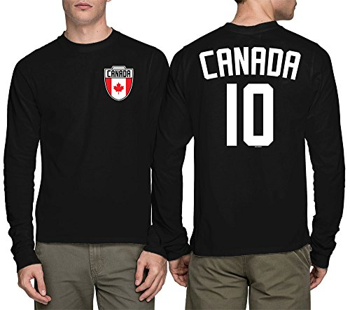 Long Sleeve Mens Canada Canadian - Soccer Football T-shirt (Large, BLACK) (Canada Soccer compare prices)