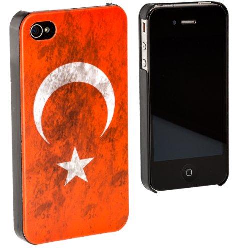 Kuffner TPU CASE Landes Flagge Fahne für Apple iPhone 4 / 4s Cover Handy Schutzhülle für Türkei / turkey