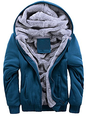 Mens Hooded Jacket Jacket Winter Warm Outerwear Faux Fur Sweatshirt Blue1 L
