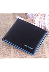 ABC New Fashion Cool BOY Men's Leather Bifold Credit/id Cards Holder Slim Wallet (Blue+Black)