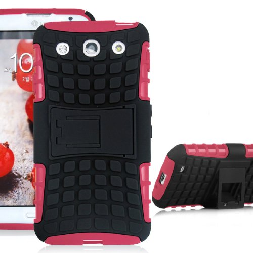 Jkase Diablo Series Tough Rugged Dual Layer Protection Case Cover With Build In Stand For Lg Optimus G Pro E980 - Retail Packaging (Pink)