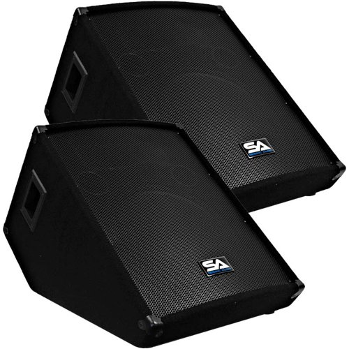 """Seismic Audio - Pair Of 15"""" Floor Wedge Style Monitors - Studio, Stage, Or Floor Use - Pa/Dj Speakers"""