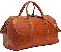Toscana Duffle Olive (Honey) Brown Stamped Italian Leather Weekender Travel Bag