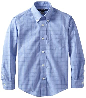 Brooks Brothers Big Boys' Non Iron Glen Plaid Broadcloth Button Down Collar Barrel Cuff Shirt, Blue, 10