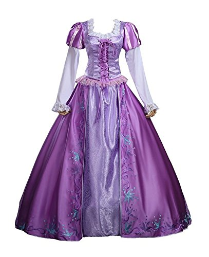 Halloween 2017 Disney Costumes Plus Size & Standard Women's Costume Characters - Women's Costume CharactersAdult Women's Halloween Deluxe Tangle Rapunzel Costume Princess Dress (Sizes S-2X)