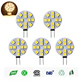 LED SG4-12V T-DW Side Pin G4 LED Disc Halogen Replacement Bulb, 3W, 20-25W Equal, Warm White 3000k, 5-Pack(Not Dimmable)