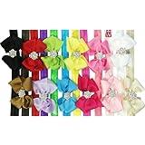 Kella Milla Ribbon Bow with Rhinestone Button Center Stretchy Headband, Set of 12
