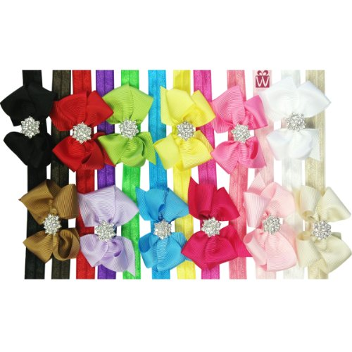 Kella Milla Set of 12 Ribbon Bow with Rhinestone Button Center Stretchy Headband - 1