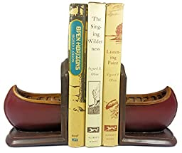 Canoe Decor Decorative Bookends, 1 Pair (Red)