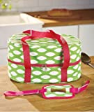 "Slow Cooker Carrying Case Green Fits Slow Cooker and Lid up to 6 Quarts 15"" X 11"" X 7-1/2"""