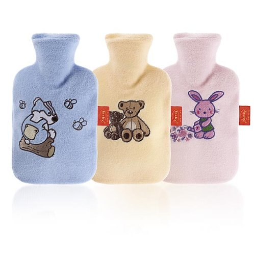 Fashy Fleece Covered Hot Water Bottle with Embroidery 0.8L
