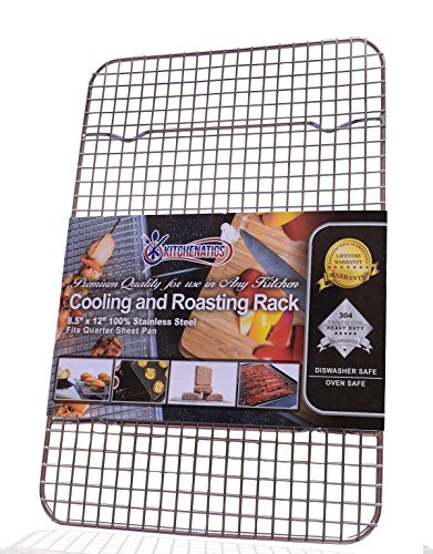 Kitchenatics 100% Stainless Steel Wire Cooling and Roasting Rack Fits Quarter Sheet Size Baking Pan, Oven Safe, Commercial Quality, Heavy Duty (8.5
