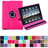 HDE 360 Degree Rotating PU Leather Case Cover Stand for iPad Air 2 (Hot Pink)