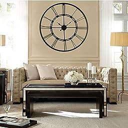 Handmade Large Black Color Wall Clock Metal Wall Art Hanging Decorative Wall Sculpture Decor (75 CM, Black)