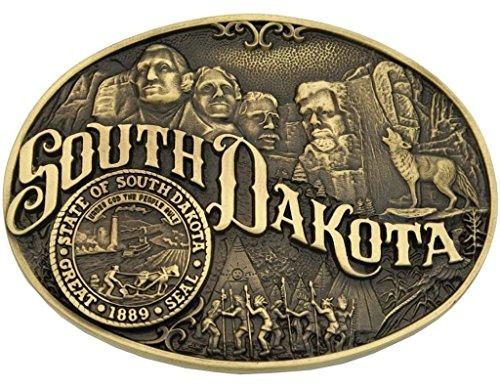 Montana Silversmiths Men's South Dakota State Heritage Attitude Belt Buckle Gold One Size (Southwestern Belt Buckle compare prices)