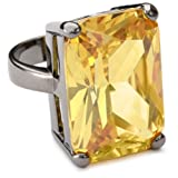 nOir ''Classic Cubic Zirconia'' Yellow Rectangle Stone Statement Ring