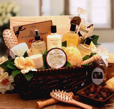Vanilla Therapy Bath and Body Spa Basket for Women - Valentines Day Gift Idea for Her