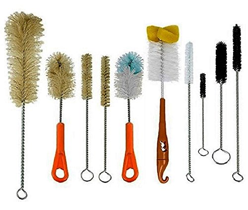 RamPro 10Pc Cleaning Brush Set Ultimate Kit, Baby Bottle & Tube Brushes. All Shapes & Sizes, Large, Small, Sponge, Soft, Stiff, Nylon, Natural, & Synthetic Bristles. (Baby Bird Hair Dryer compare prices)