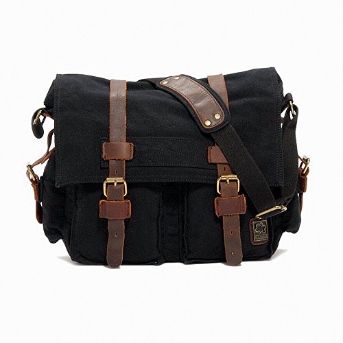"""Jam_closet Men's Trendy """"Colonial"""" Italian Style Messenger Bag with Leather Straps – Black image"""